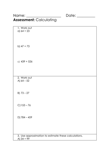 KS3 Assessment - Calculating - Low ability