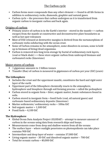 A-level Geography - The Carbon Cycle
