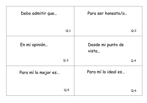 Spanish GCSE: Grade 8 Sentence Starters & Complex Structures Revision Flashcards