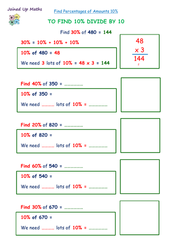 Finding Percentages of Amounts 10%