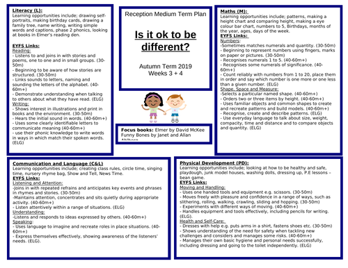Reception Medium Term Plan - All About Me!