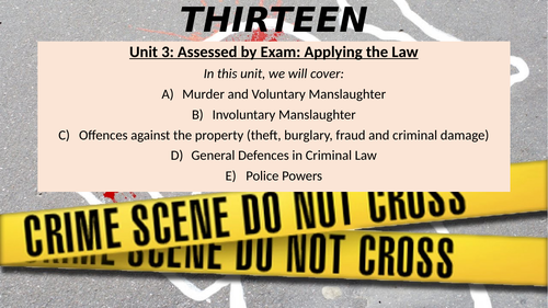 Unit 3 BTEC Applied Law Whole lessons on Murder, Voluntary Manslaughter and Involuntary Manslaughter