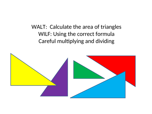 Area of triangles, squares, rectangles