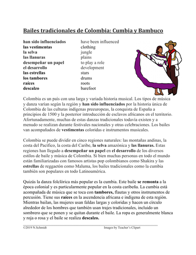 Bailes tradicionales de Colombia: Cumbia y Bambuco Lectura y Cultura