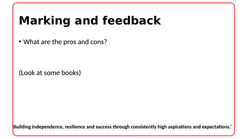 Marking and feedback presentation