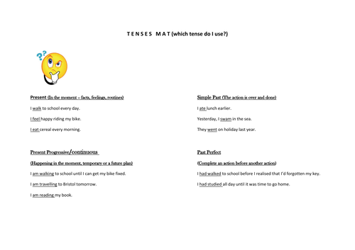 Five tenses in brief for beginners