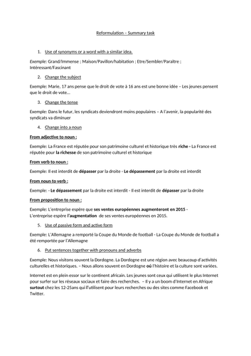 French A level summary task - reformulation techniques