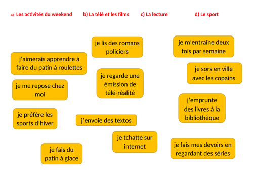 Les loisirs sorting task starter / activity