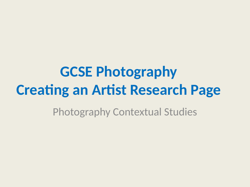 GCSE Photography - Artist Photography