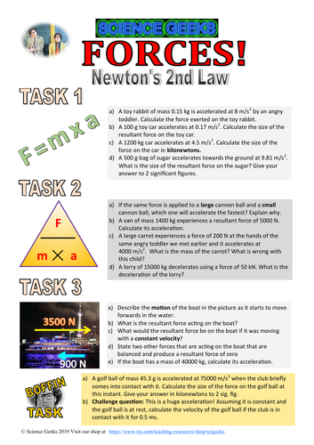 GCSE PHYSICS - FORCES - NEWTON'S SECOND LAW