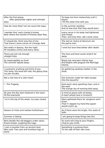 Secondary English Resources: Poetry Worksheets for KS3