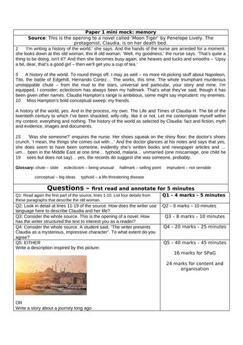 NEW GCSE AQA English Lang Paper 1 Mini Mocks