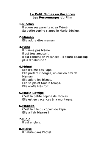Les vacances du Petit Nicolas list of characters and description