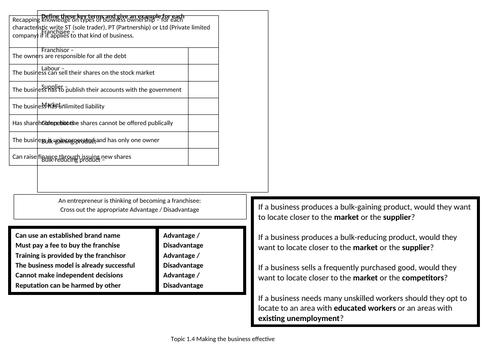 Edexcel GCSE (9-1) Business Topic 1.4 revision knowledge organiser