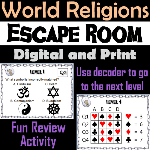 World Religions Activity/ Escape Room: Christianity, Buddhism, Islam, Hinduism...