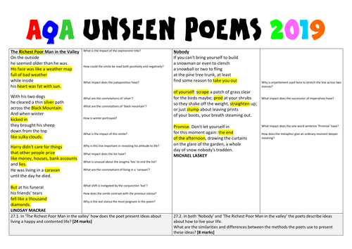 Unseen Poetry sample exam questions