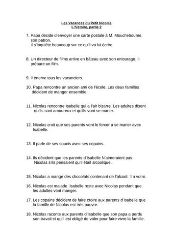'Les Vacances du Petit Nicolas' outline in French
