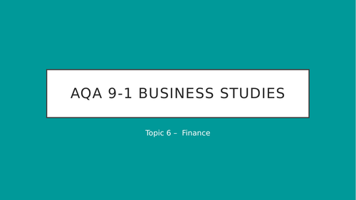 AQA Business 9-1 - Finance