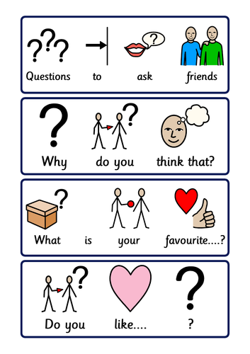 Social interaction prompts and tips for Autism and speech and language difficulties.
