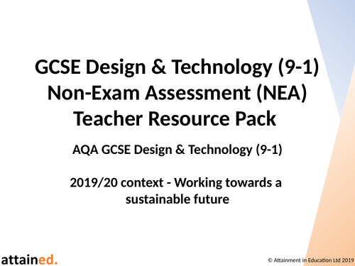 GCSE D&T NEA Teacher Resource Pack (AQA Context - Working towards a sustainable future)