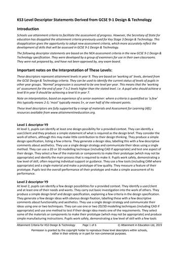 KS3 Level Descriptor Statements Derived from GCSE 9-1 Design & Technology