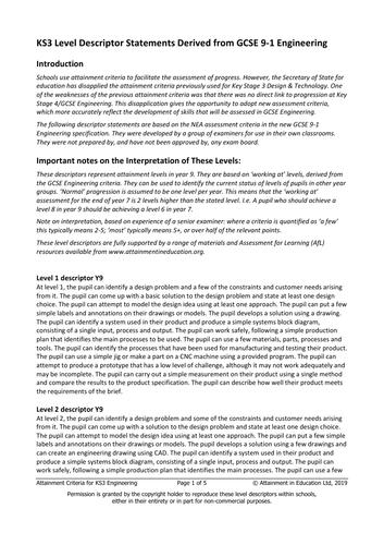 KS3 Level Descriptor Statements Derived from GCSE 9-1 Engineering