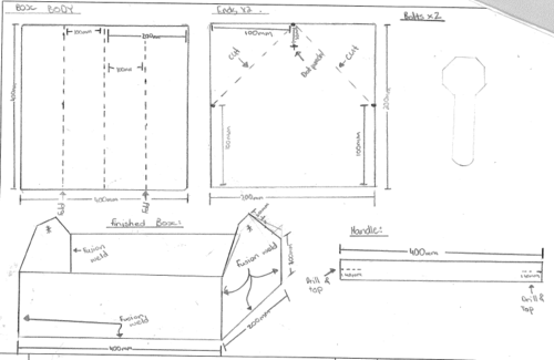 11 Engineering Skills (Metalwork) - Photos and technical drawings for making a metal tool box