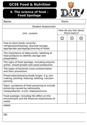WJEC Food & Nutriton Food Spoilage