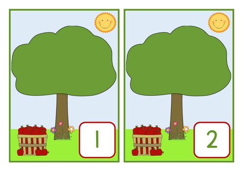 Apple tree numbers to 10, SEN / ASD / EYFS / KS1. One to one correspondence / ordering to 10