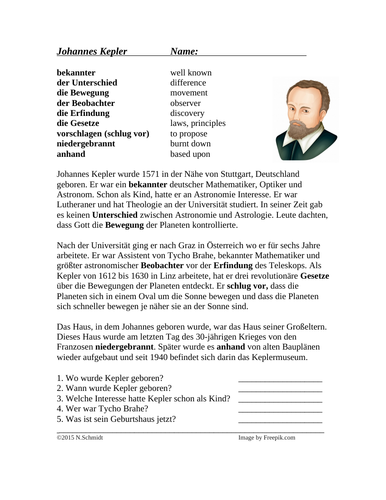 Johannes Kepler Biography - German Reading / Lesung auf Deutsch