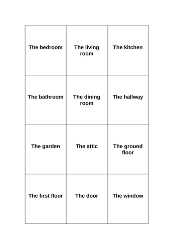 Speaking game on basic home vocabulary