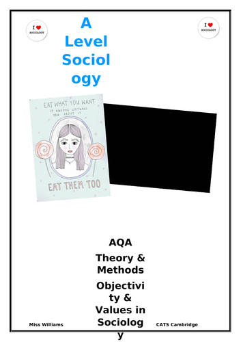 Sociology Values and Objectivity booklet