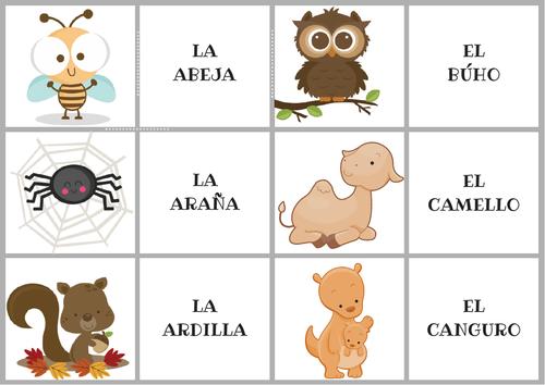 Spanish memory game (animals)