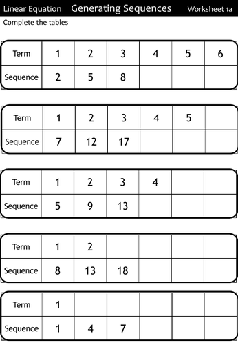 Sequences Worksheets