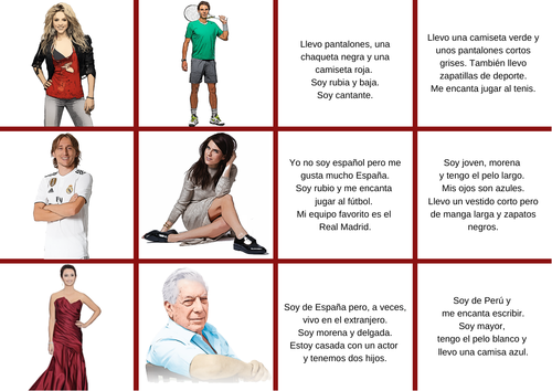 Describing in Spanish - Descriptions - Actividades para describir personas