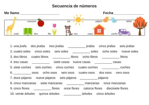 Spanish numbers (sequence and counting) - Actividad con números en español