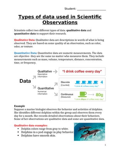 Scientific Observations: Qualitative vs. Quantitative DATA?