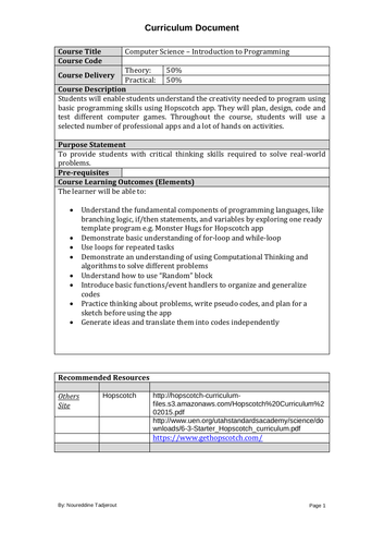 Curriculum for using basic programming skills using Hopscotch app.