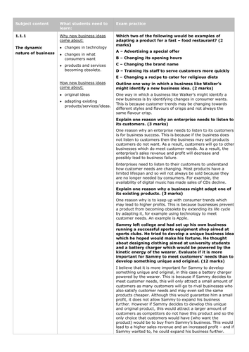 Edexcel GCSE Business (9-1) NEW SPECIFICATION - Sample Answers