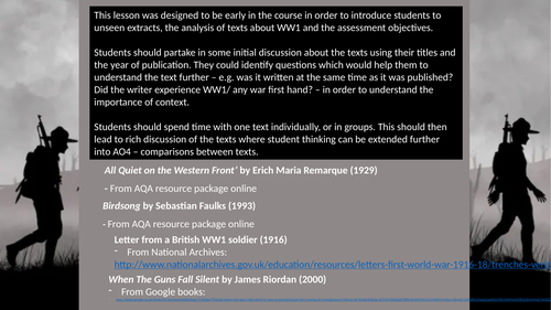 An introduction to WW1 extract study for AQA English Literature A Level - WW1 and its aftermath.