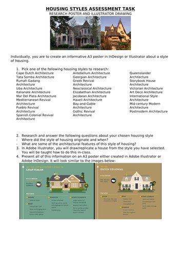 Housing Styles assessment task and presentation