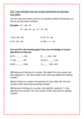 Inverse operations (year 3) by LHodkin | Teaching Resources