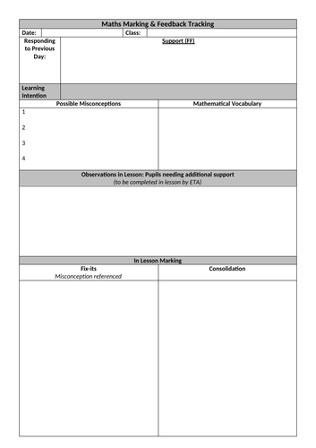 Planning/Marking document