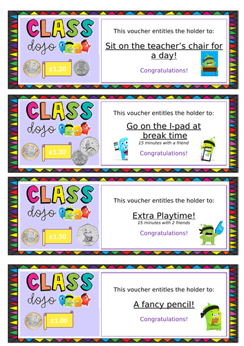 Class Dojo Reward Vouchers and Poster/labels