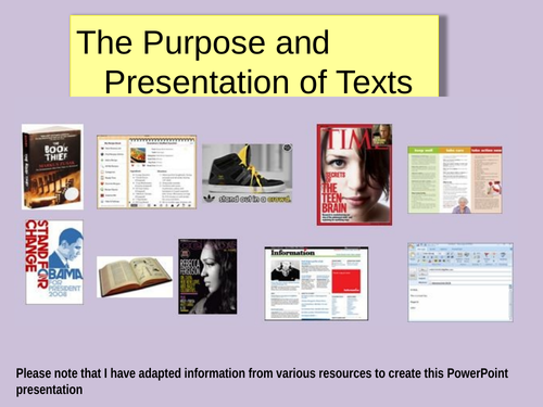 'Texts: Their Presentation and Purpose' & 'Language, Tone & Register' PPs