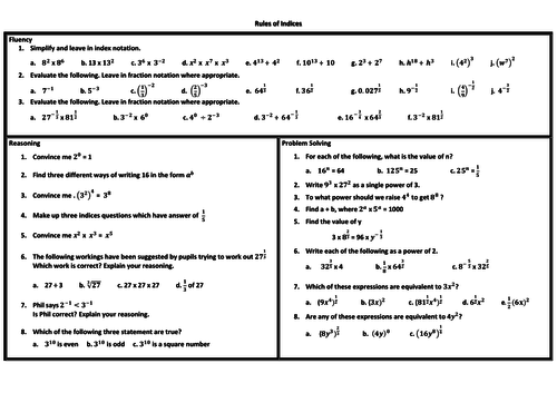 Rules of Indices Problem Solving Mastery Worksheet