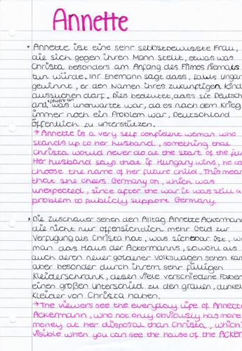 Edexcel A Level German Das Wunder von Bern Annette Character Analysis