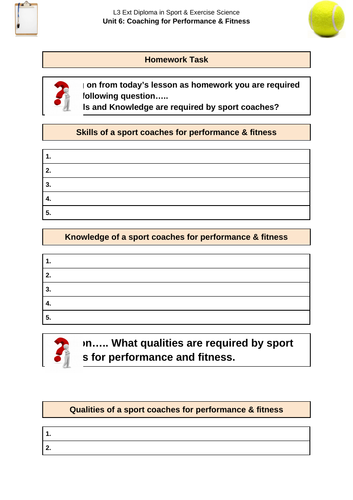 Coaching for Performance and Fitness