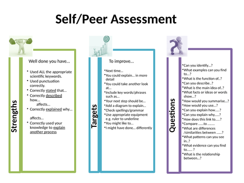 Peer and Self Assessment Checklist for Whole School