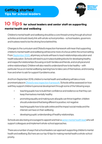 Mental health and wellbeing: 10 tips for school leaders